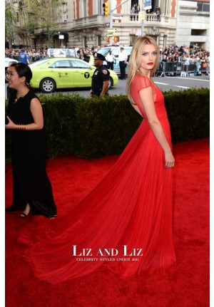 Lily Donaldson Red V-neck Chiffon Prom Dress Met Gala 2015 Red Carpet