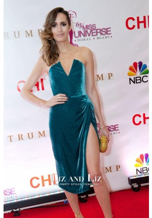 Louise Roe Short Blue Velvet Cocktail Dresses 63rd Miss Universe Pageant