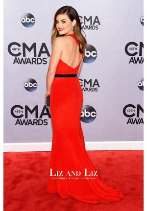 Lucy Hale Red Mermaid Celebrity Prom Dresses CMA Awards 2014