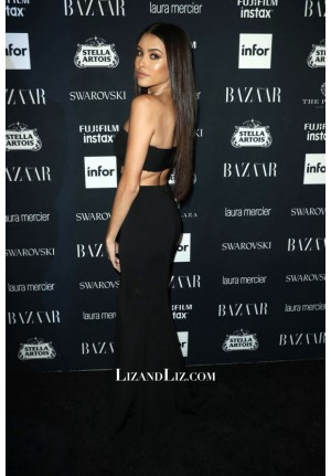 Madison Beer Black Strapless Cut-out Dress Harper's Bazaar Icons Party 2017