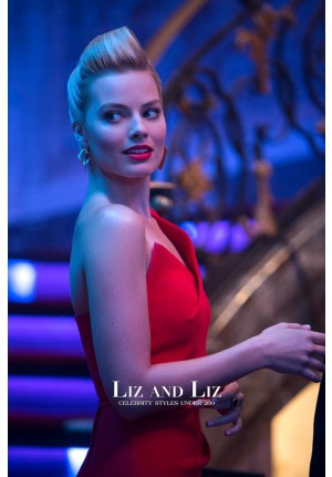 "Margot Robbie Short Red Cocktail Party Celebrity Dresses In Movie ""Focus"""