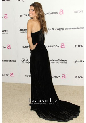 Maria Menounos Black One-shoulder Velvet Prom Dress Oscars 2011