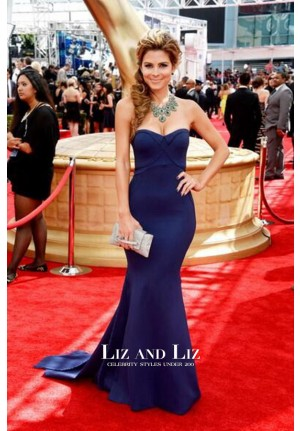 Maria Menounos Navy Blue Strapless Mermaid Red Carpet Dress Emmys 2013