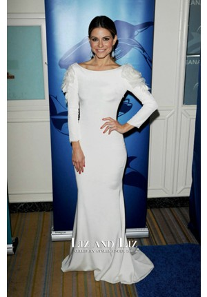 Maria Menounos White Long-sleeve Celebrity Dress Oceana Partners Award Gala