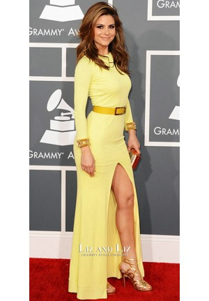 Maria Menounos Yellow Long-sleeve Red Carpet Dresses Grammys 2013