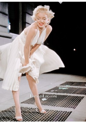 Marilyn Monroe White Halter Pleated Dress In Movie The Seven Year Itch