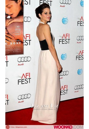 "Marion Cotillard White Black Halter Prom Dress ""Rust and Bone"" AFI Fest Premiere"