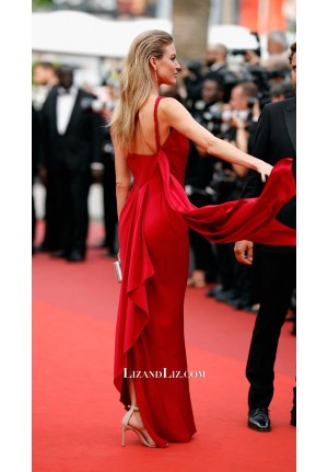 Martha Hunt Red One-shoulder Celebrity Prom Dress Cannes 2017