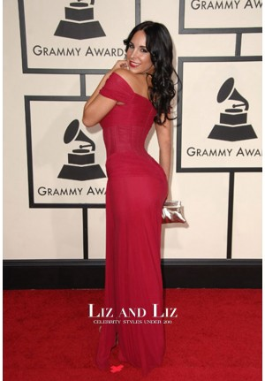 Mayra Veronica Red Off-the-shoulder Dress Grammys 2008 Red Carpet