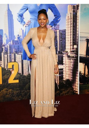 Meagan Good Champagne V-neck Dress 'Anchorman 2' London Premiere
