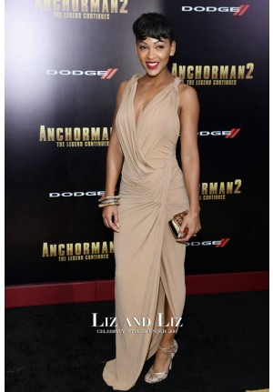 Meagan Good Champagne Sleeveless Dress 'Anchorman 2' New York Premiere