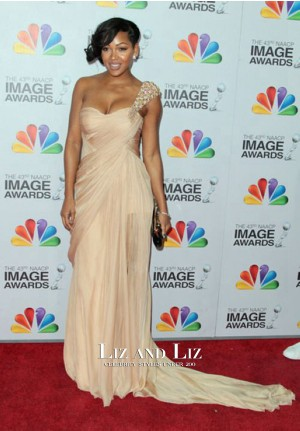 Meagan Good Champagne One-shoulder Dress NAACP Image Awards 2012