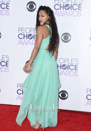Meagan Good Mint Green Chiffon Prom Dress Peoples Choice Awards 2016