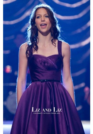 """Melissa Benoist Short Purple Cocktail Party Homecoming Dress in """"Glee"""""""