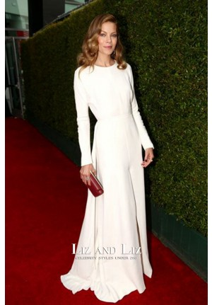 Michelle Monaghan White Long-sleeve Red Carpet Dress Emmys 2014