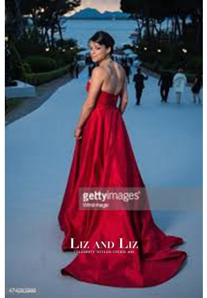 Michelle Rodriguez Red Strapless Satin Red Carpet Dress amfAR Gala 2015