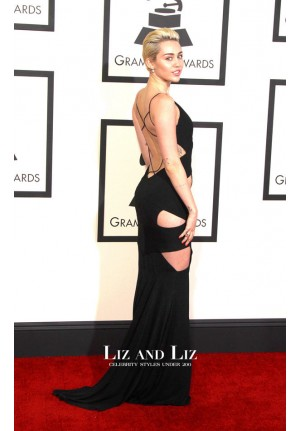 Miley Cyrus Black Cut-out Formal Prom Red Carpet Dress Grammys 2015