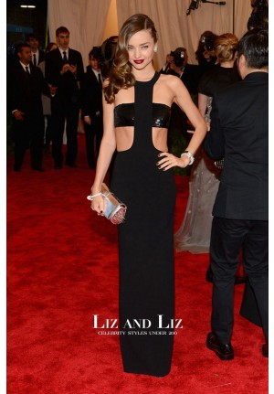 Miranda Kerr Black Cut-out Celebrity Gown 2013 Met Gala Red Carpet Dress