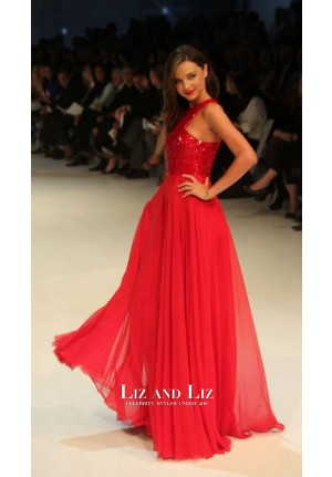 Miranda Kerr Red Sequin Chiffon Prom Dress David Jones Spring/Summer 2011
