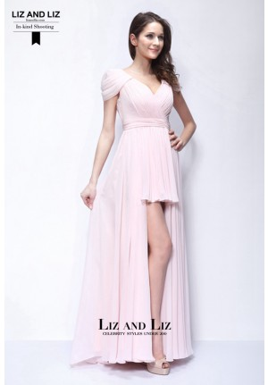 Miranda Kerr Pink Cap-sleeve Chiffon Prom Celebrity Dress Mexico Runway