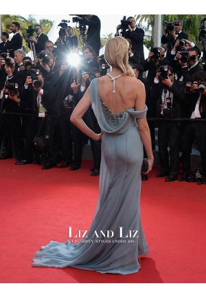 Naomi Watts Blue Off-the-shoulder Chiffon Red Carpet Dress Cannes 2014
