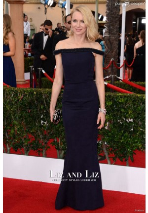 Naomi Watts Navy Off-the-shoulder Dress SAG Awards 2015 Red Carpet