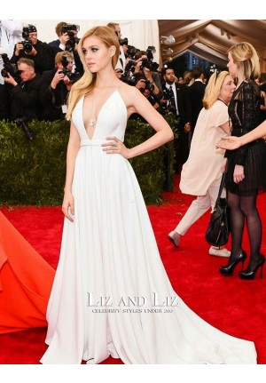 Nicola Peltz White V-neck Evening Prom Met Gala 2015 Red Carpet Dress