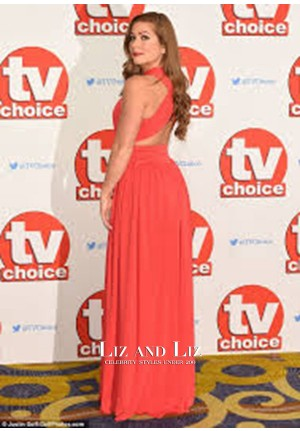 Nikki Sanderson Red Chiffon Formal Prom Dress TV Choice Awards 2015