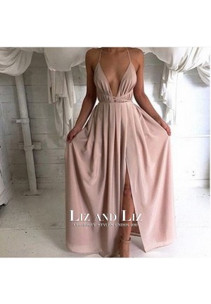 Sexy Halter Plunging V-neck Backless Celebrity Dress Evening Prom Gown