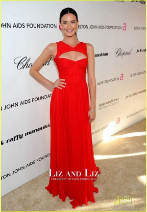 Odette Yustman Red Cut-out Chiffon Celebrity Prom Dress Oscars 2011