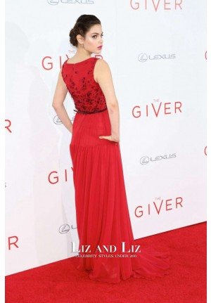 Odeya Rush Red Evening Prom Celebrity Dress 'The Giver' New York Premiere