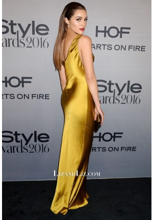 Olivia Culpo Inspired Gold Satin Prom Party Celebrity Dress InStyle Awards 2016