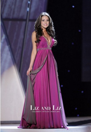 Olivia Culpo Fuchsia V-neck Chiffon Prom Dress Miss USA Competition 2012