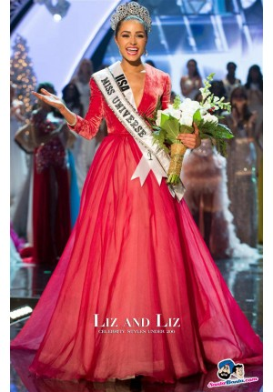 Olivia Culpo Red Long-sleeve V-neck Celebrity Dresses Miss Universe 2012
