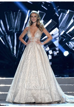 Olivia Jordan Ivory Plunging V-neck Celebrity Dress Prom Gown Miss USA 2016