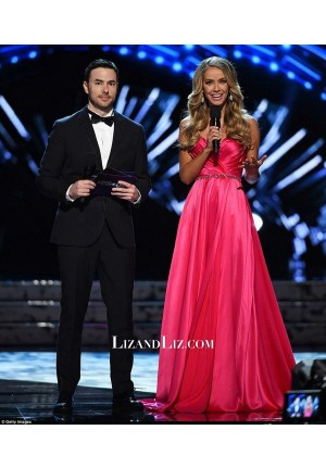 Olivia Jordan Red Strapless Pageant Dress Miss USA Preliminary 2016