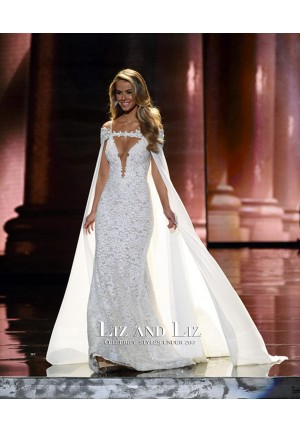 Olivia Jordan White Lace Dress with Cape Miss Universe Pageant 2015