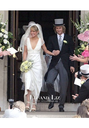 "Olivia Wilde White Cap-sleeve V-neck Gown Celebrity Wedding Dress ""Rush"""