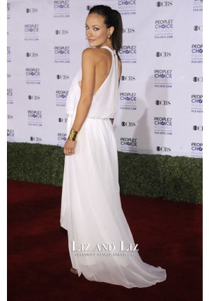 Olivia Wilde White Chiffon Celebrity Prom Dress People's Choice Awards