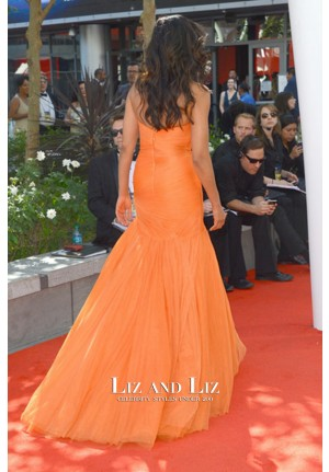 Padma Lakshmi Orange Strapless Red Carpet Prom Dress Emmys 2012