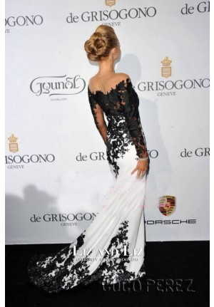 Paris Hilton Black and White Lace Celebrity Prom Dresses Cannes Party