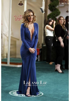 Patricia Zavala Royal Blue Plunging V-neck Dress Latin Grammy Awards