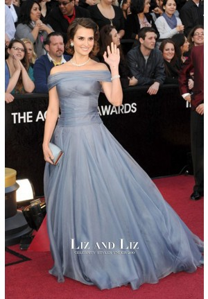 Penelope Cruz Blue Off-the-shoulder Gown 2012 Oscars Red Carpet Dresses