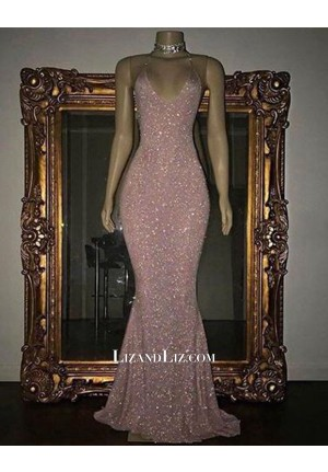 Celebrity Inspired Pink Mermaid V-neck Sequin Evening Prom Formal Gown