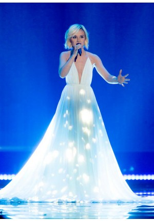 Polina Gagarina White Plunging Chiffon Dress Eurovision Song Contest 2015