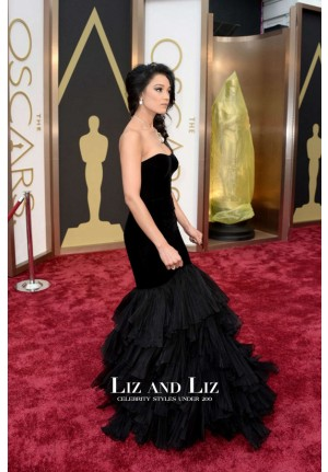 Rachel Smith Black Strapless Mermaid Velvet Red Carpet Dress Oscars 2014