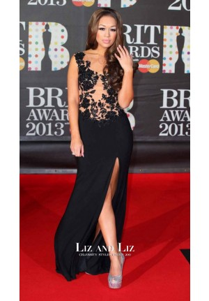 Rebecca Ferguson Black Lace Celebrity Dress Brit Awards 2013 Red Carpet