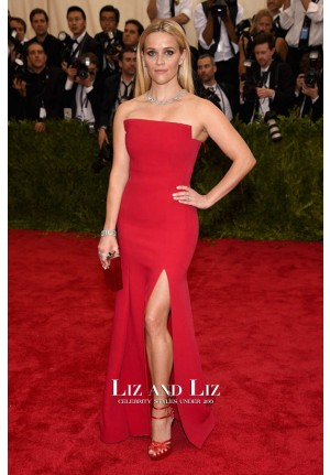 Reese Witherspoon Red Strapless Celebrity Dress Met Gala 2015 Red Carpet