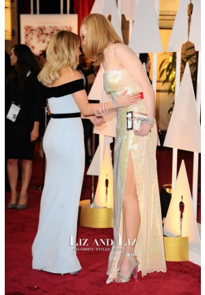 Reese Witherspoon Black and White Off-the-shoulder Dress Oscars 2015