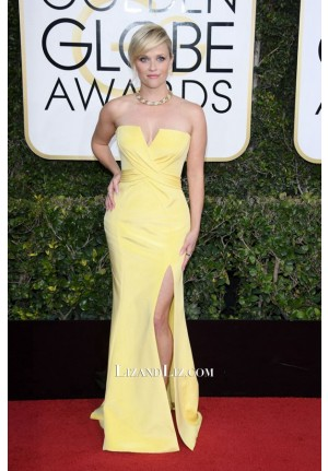 Reese Witherspoon Yellow Strapless Prom Celebrity Dress Golden Globes 2017
